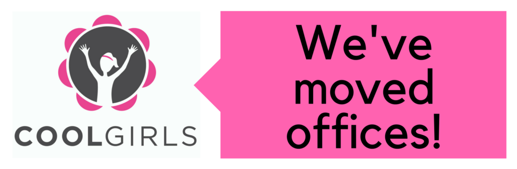 "Image of Cool Girls logo with a speech bubble that says ""We've moved offices"""